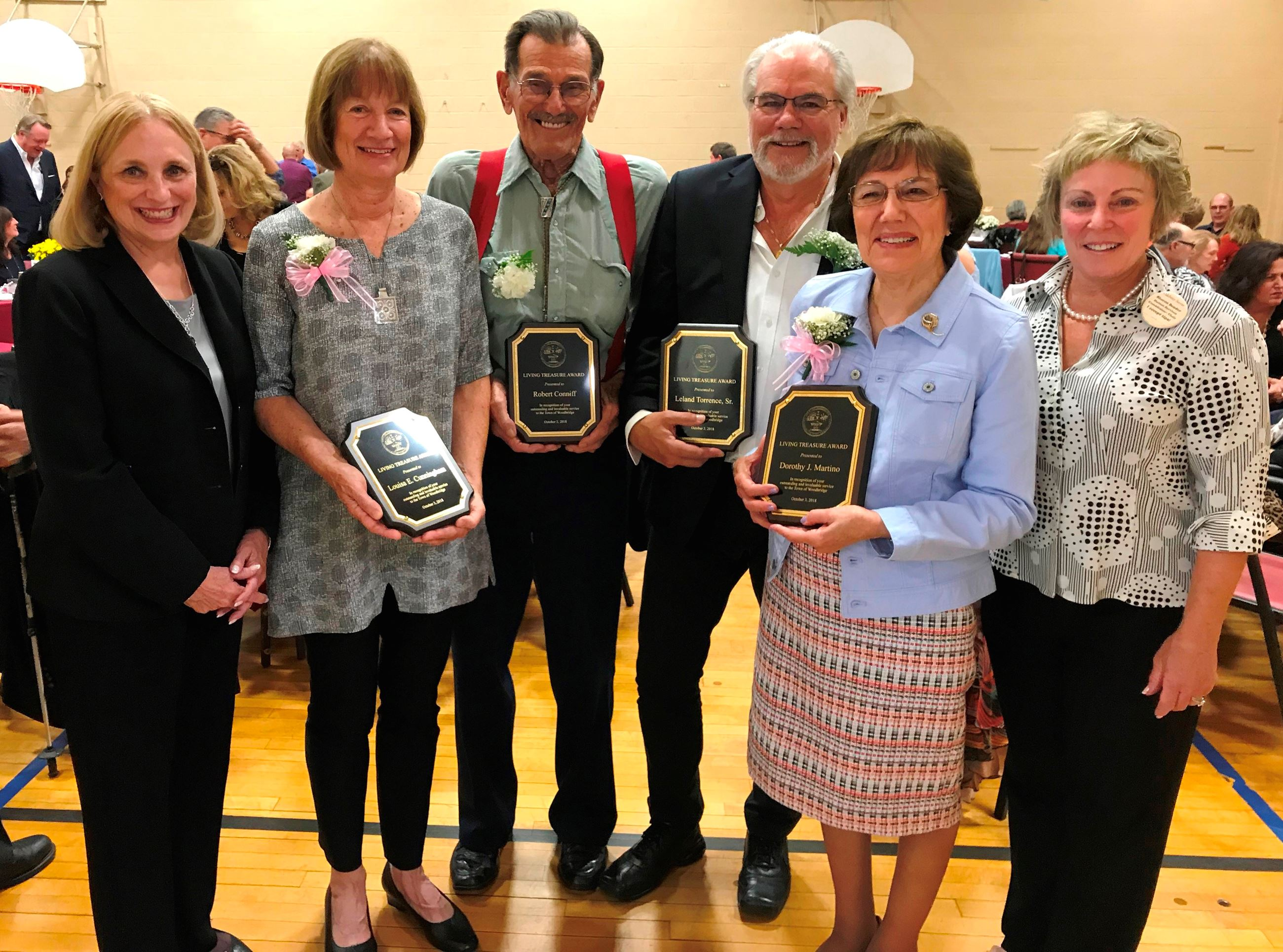 1st Selectman Beth Heller with our 2018 Award Winners and Human Services Chair Sharon Bender