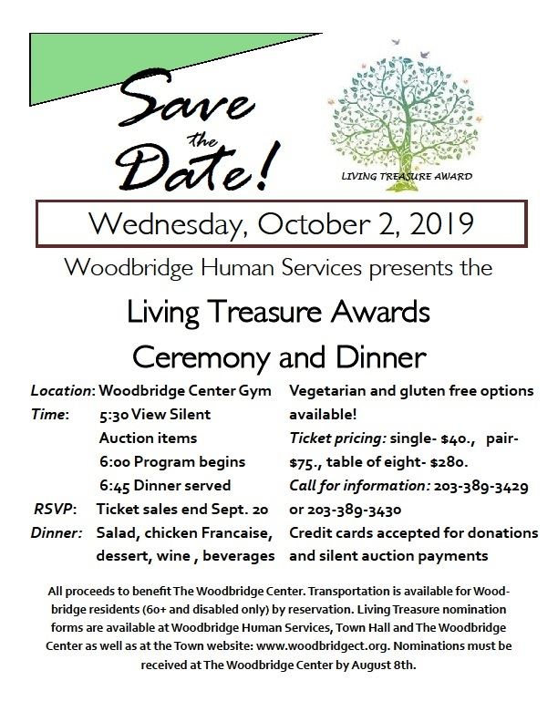 Save the Date for Living Treasure Awards Oct 2, 2019