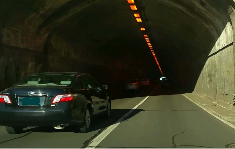 car entering Heroes Tunnel